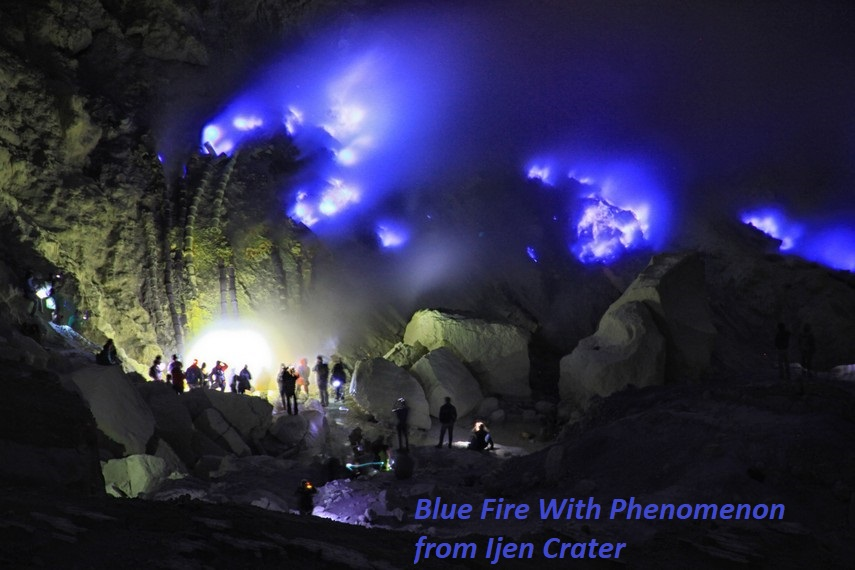 Blue Fire With Phenomenon from Ijen Crater
